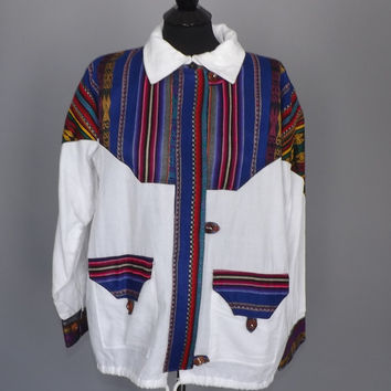 Vintage 80s 90s Unisex Sweatshirt Jacket Southwestern Embroidered Tribal Print Size Medium Large Geometric Boho Men Women Spring Coat Grunge