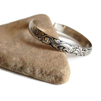 Two Fish Silver Cuff Bracelet Vintage Nature-Inspired Southwest Silver Jewelry Accessories Tribal Boho Rustic Botanical Gift for Her
