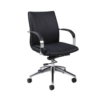 Josephina Office Chair in chrome/aluminum upholstered in Pu Black