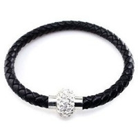 Magnetic Clasp Braided Black Faux Leather Bracelet