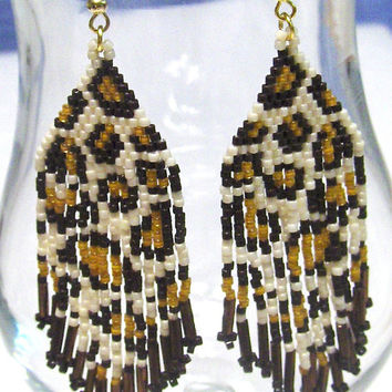 Beaded Earrings, Tribal, Dangle  Fringe, Leopard Print Design, Ethnic Earrings, Boho Jewelry, Rocker Jewelry, Biker Jewelry, Body Jewelry