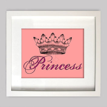 Princess Crown Wall Art  8x10 Perfect for Girls Room Wall Art, Custom Colors, Digital Wall Art for Girls Room Decor, (Digital Download)
