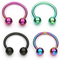 """(4pcs) Horseshoe Circular Assorted Color Titanium Anodized over 316L Surgical Steel 16G 5/16"""" Length at Blue Kangaroo"""
