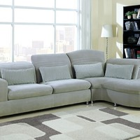 2 pc Orion collection modern styling gray ultra plush fabric upholstered sectional sofa with chaise lounge and adjustable headrest