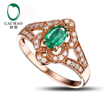 caimao 0.39 ct natural emerald 14kt/585 rose gold 0.36 ct full cut diamond engagement ring  gemstone colombian