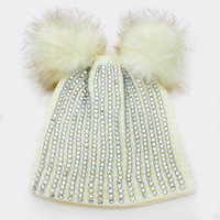 Double Pom Pom Crystal Knit Beanie Hat - Cream
