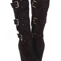 Black Faux Suede Buckle Strapped Wedge Boots @ Amiclubwear Boots Catalog:women's winter boots,leather thigh high boots,black platform knee high boots,over the knee boots,Go Go boots,cowgirl boots,gladiator boots,womens dress boots,skirt boots,pink boots,f