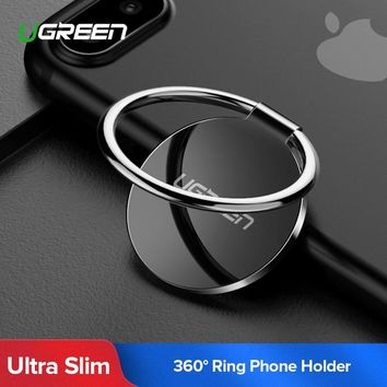 Ugreen Finger Ring Holder for Samsung S9 360 Degree Mount Holder Stand Mobile Phone Finger Phone Stand for iPhone X 8 7 6 Tablet