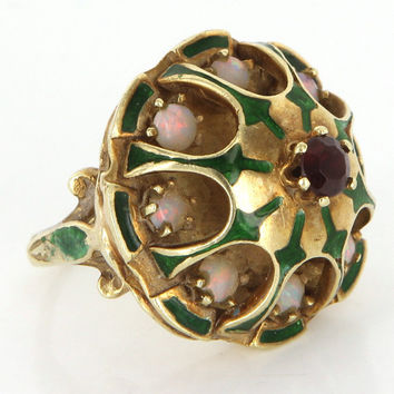 Vintage 14 Karat Yellow Gold Opal Ruby Enamel Cocktail Dome Ring Fine Jewelry