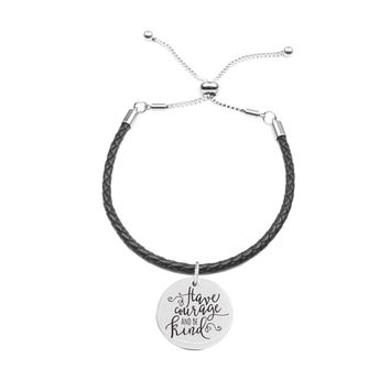 Genuine Leather Cord Inspirational Slider Bracelet  - HAVE COURAGE