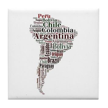 SOUTH AMERICA WORD ART TILE COASTER