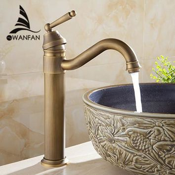 Newest Free shipping Tall Design Antique Brass Water Tap Bathroom Basin Sink Faucet Vanity Brass Faucet Water Tap Crane 6633