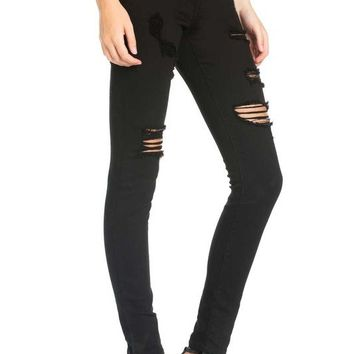 JOLIE NOIR DISTRESSED SKINNY JEANS - BLACK
