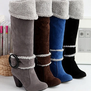 Fashion Snow Boots Big size 4-12 Square High Heels Knee High Winter Shoes for Women Sexy Warm Fur Buckle Fashion Boots on sale = 1932422084