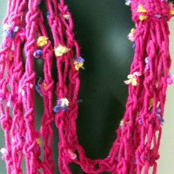 Spring Summer Scarf, Pink Crochet Long Layered Crochet Necklace Scarf, Wool Infinity Cowl, Chunky Statement, Summer Trends, Mother's Day