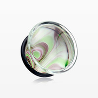 A Pair of Ornamental Swirl Pyrex Glass Ear Gauge Plug