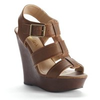 Candie's Brown Strappy Wedge Sandals - Women