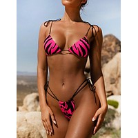 Fashion Summer New Beach Zebra Texture Straps Two Piece Bikini Swimsuit Rose Red