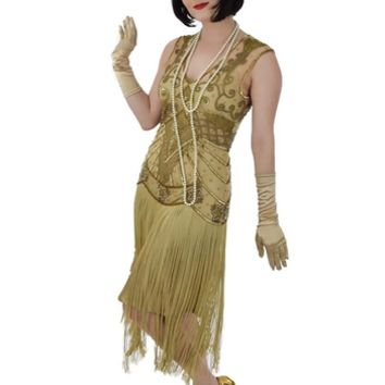 Gold Beaded Fringed Anita 20s Style Flapper Dress