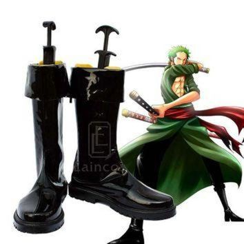 ICIKYE Anime One Piece After Two Years Roronoa Zoro Cosplay Halloween Party Shoes Black Boots