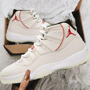 "Beige Trending Sneakers Air Jordan 11 Retro ""Platinum Tint"" AJ11s - Best Deal Online B"