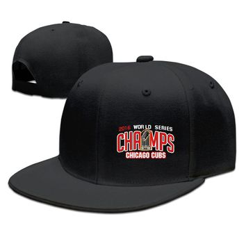 2016 World Series Champions-Chicago Cubs Funny Unisex Adult Womens Fitted Hats Mens Flat Brim Hats