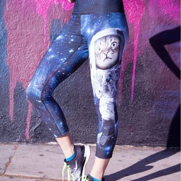 Blue 3D Galaxy Space Astronaut Cat Printed Leggings Women Sportss Leggings 2016 New Design Punk Rock Jogger Jeggings Sexy Legins
