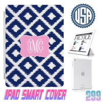 Navy Custom IPhone 5S Monogram @ IPad Air Smart Cover , IPad Mini Smart Cover IPad 4 Case , IPad 3 2 IPhone 5  4 4S Magnetic Sleep Wake #299