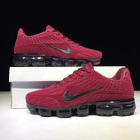 NIKE AIR VAPORMAX FLYKIT Fashion Flats Sport Shoes Running Sneakers Wine red G-CSXY