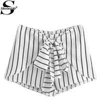 Striped Bow Tie Front Zipper Shorts Summer Elegant Mid Waist Shorts Office Ladies Fashion Black and White Shorts