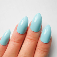 24 Stiletto Nails, Fake Nails, Acrylic Nails, False Nails, Press on Nails, Press on Stiletto, Baby Blue, Light Blue