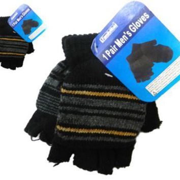 Men's Gloves Convertible Fingerless - 4 Assorted Colors - CASE OF 12