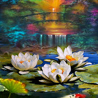 """Pond - Palette knife Original oil painting on canvas by Dmitry Spiros. 24""""x32""""  Free Shipping"""