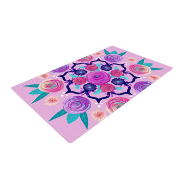 "Anneline Sophia ""Expressive Blooms Mandala"" Pink Floral Woven Area Rug"