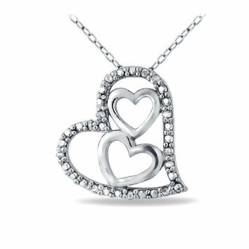 Sterling Silver Diamond Three Heart Necklace