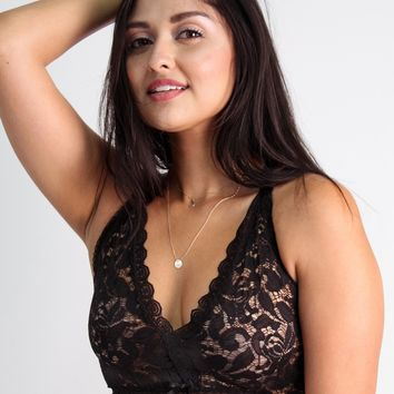Camilla Easy Fit Cross Back Lace Bralette in Black Rose