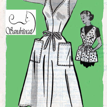 1950s Mail Order Pattern Back Wrap Full Apron or Sundress Sun Dress Anne Adams 4803  Vintage Sewing Pattern Size Bust 40