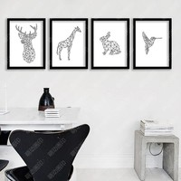 Geometric Deer Posters And Prints Wall Art Canvas Prints Cuadros Wall Pictures For Living Room Canvas Painting No Poster Frame