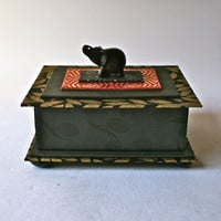 Handmade One of a Kind Box in Black and Red with Elephant for Home Decor