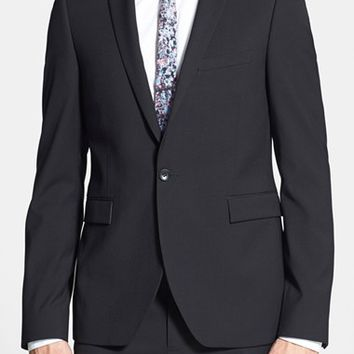 Men's Topman Black Textured Skinny Fit Suit Jacket