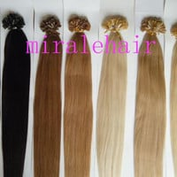 "18"" 1g/s #12 straight U tip nail hair prebonded keratin hair extensions 100% INDIAN REMY"