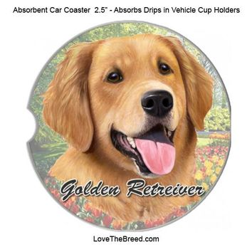 Golden Retriever Absorbent Car Coaster