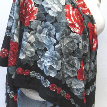 Roses Black Gray Red Scarf Hair Wrap Accessory