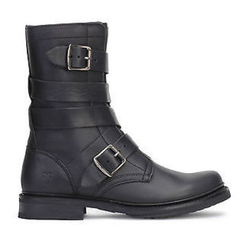 Frye Womens Veronica Tanker Wrapped Up Boots Black Leather