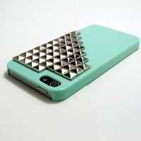 Studded Iphone 5 Case Ultra Thin Green with Silvery Pyramid Studs Stud Cool