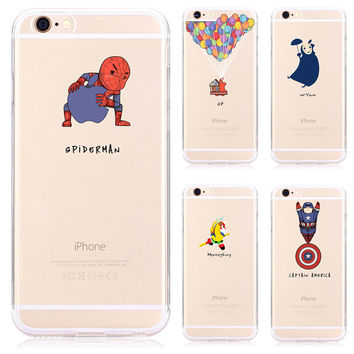 Cute Cartoon Funny Transparent monkey Spider-Man Phone Case For Apple Iphone 6 6s 4.7 Soft Silicone Rubber Cover