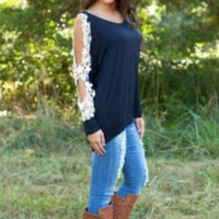 Lace Patchwork Sleeve Shirt