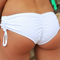 White Boyshort Bikini Bottom - Adjustable Side Scrunch - Fully Lined  - Scrunch Ruched Butt - High Quality Swimwear Fabric - New