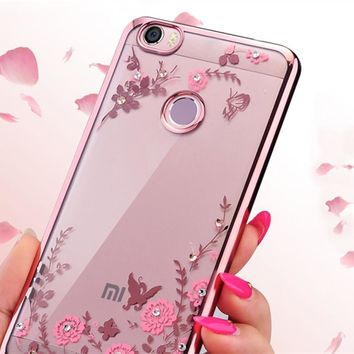 For Xiaomi max case 6.44 inch luxury secret garden series loverly diamond flower pattern TPU mobile phone case for xiaomi mi max