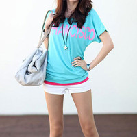 Bright Color San Francisco Print Loose Style Basic Tee Shirt